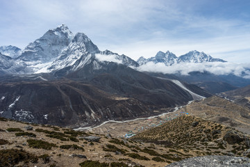 View of Ama Dablam mountain from Dingboche view point, Everest region, Nepal