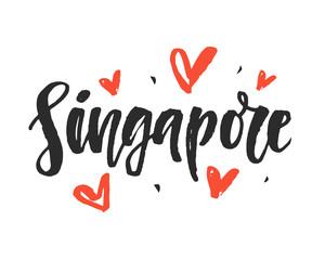 Singapore. Modern city hand written brush lettering