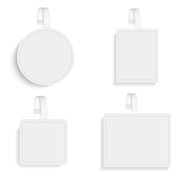Set of vector blank round wobblers with transparent strip