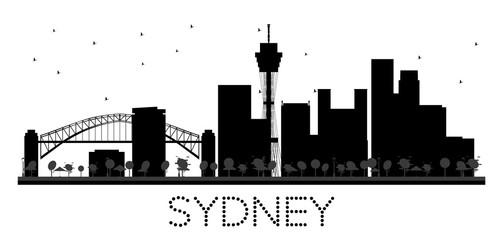Sydney City skyline black and white silhouette.