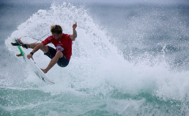 Florence of Hawaii surfs during the World Surf League Rio Pro championship men's semi-final at Barra da Tijuca beach in Rio de Janeiro