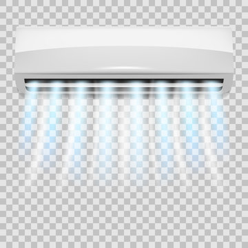Air conditioning. Realistic air conditioner with flows of cold air. Isolated conditioner