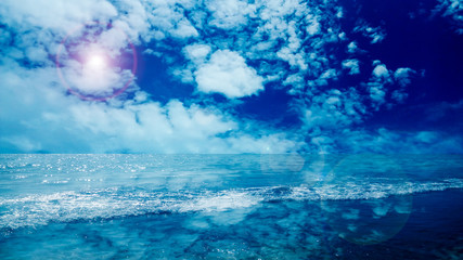 reflection of cloud and water surface on sea