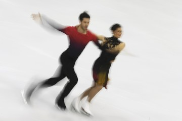 Fournier Beaudry and Sorensen of Denmark perform during the ice dance short dance program at the ISU European Figure Skating Championship in Bratislava
