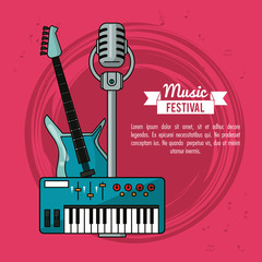 poster music festival in magenta background with electric guitar keyboard and microphone vector illustration