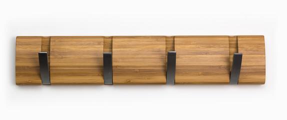 Wood hook rack isolated on white background