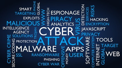 Cyber attack word tag cloud. 3D rendering, blue variant.