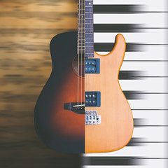 acoustic & electric guitar on music sheet, piano keys for music background