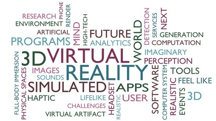 Virtual reality word tag cloud. 3D rendering, white variant.