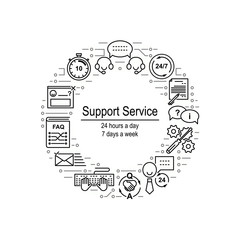 Circle collage made of helpdesk line icons and electrical circuit elements. Support service inscription. Editable strokes. Vector illustration.