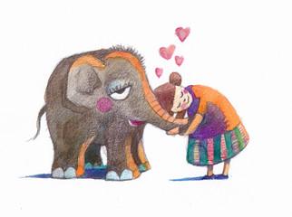 baby elephant hugs
