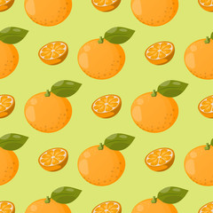 Ripe orange products fruits seamless pattern citrus slices sweet food realistic organic vector illustration.