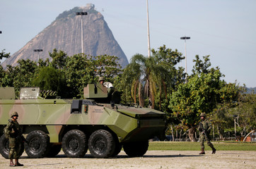Brazilian Navy armored vehicle is seen during a street patrolling exercise on Aterro highway ahead of the 2016 Rio Olympics in Rio de Janeiro