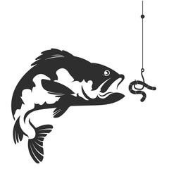 Fish and a worm on a hook