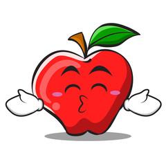 Kissing closed eyes apple cartoon character design