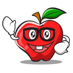 Geek face apple cartoon character design