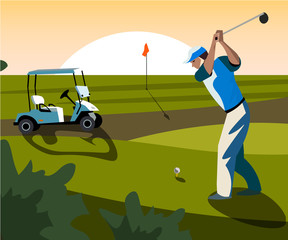 Banners vector image of sports equipment for Golf.