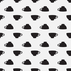 Seamless pattern with a black cups on a white background
