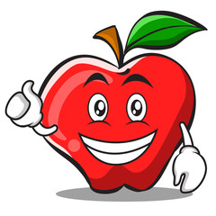 Optimistic apple cartoon character design