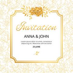 Gold Flower wedding invitation