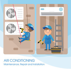A vector flat picture specialists work with equipment. Installation or repair of air conditioner. Blue, beige and white colors
