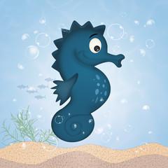 Fotobehang Draw seahorse cartoon to the sea