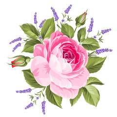 Wall Mural - Wedding flowers bouquet of color bud garland. Label with rose and lavender flowers. Vector illustration.