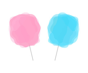 Pink and blue cotton candy isolated on white background. Set of two transparent candy floss on grey stick.