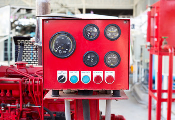 Pressure gauge panel of fire pump.