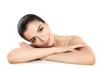 Pretty Young Woman Spa Model. Smiling Woman Relaxing on White Background. Skin Care, Spa treatment and Cosmetology Concept
