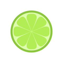 Green lime citrus fruit slice, lime flat vector illustration drawing, isolated on white background.