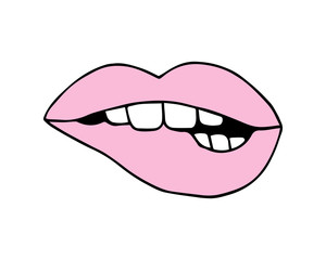 Pink lips biting, vector illustration doodle drawing. Isolated on white background.