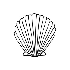 Sea shell doodle drawing, vector illustration isolated on white background. Sea scallop shell black outline.