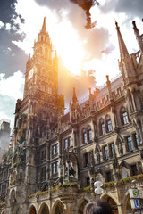 Town Hall (Rathaus) in Marienplatz, Munich, Germany..