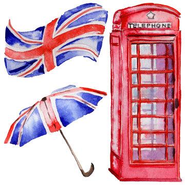 Watercolor London illustration. Great Britain hand drawn symbols. British phone.