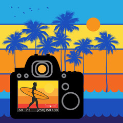 Summer travel and adventure background