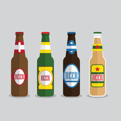 Beer bottles set with label isolated on background. Colorful vector icon or sign. Symbol or design elements for restaurant, beer pub or cafe.