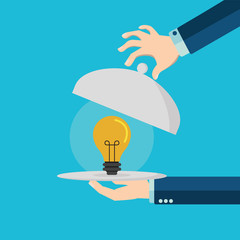 Hands holding silver platter cloche with yellow idea light bulb. Vector illustration in flat style