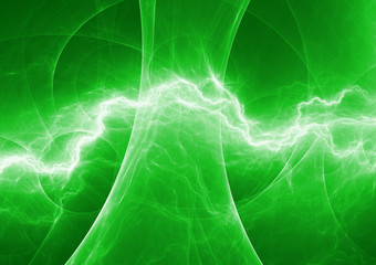 Green energy, abstract lightning background