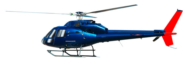 Poster Helicopter Helicopter with working propeller, isolated on white