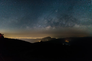 Beautiful sky with many stars above the mountain , Milky way band across the sky.