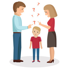 Parents scream and scold the child. Vector Illustration