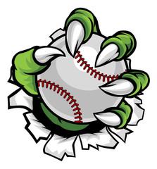 Monster or animal claw holding Baseball Ball