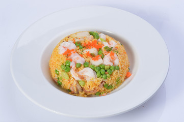 Shrimp fried rice on white background