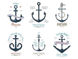 Vintage retro anchor badge vector sign sea ocean graphic element nautical anchorage symbol illustration