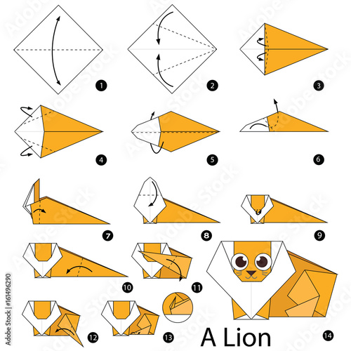 Step by step instructions how to make origami A Lion