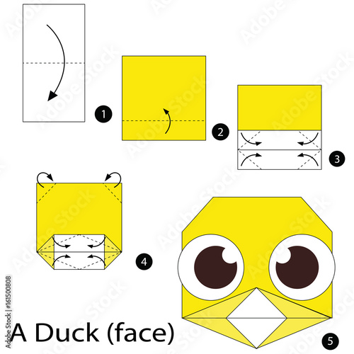step by step instructions how to make origami a duck face stock