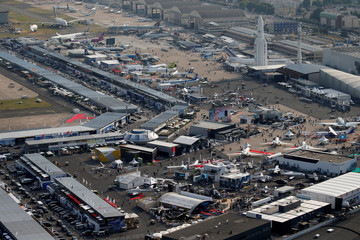 An aerial view of the 52nd Paris Air Show at Le Bourget Airport near Paris
