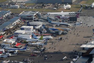 An aerial view of the 52nd Paris Air Show at Le Bourget Airport near Paris