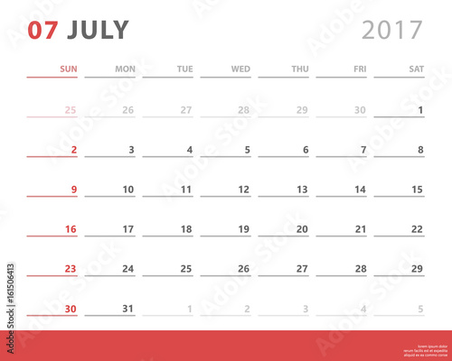 calendar planner for july 2017 starts sunday vector calendar design